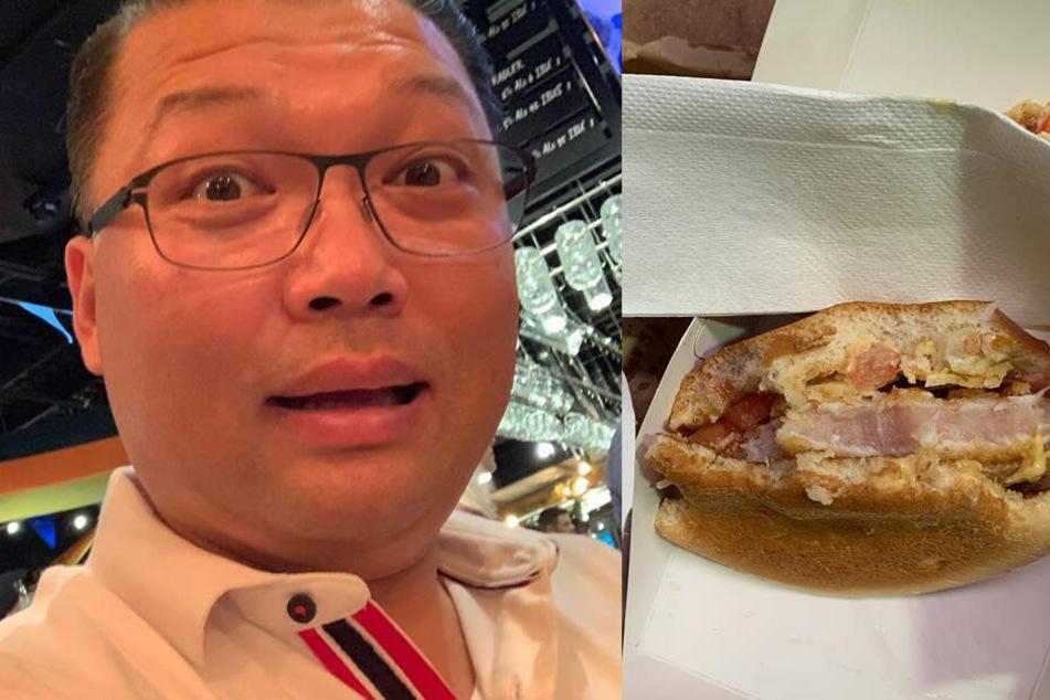 Joseph Kim neben einem der Ekel-Burger.