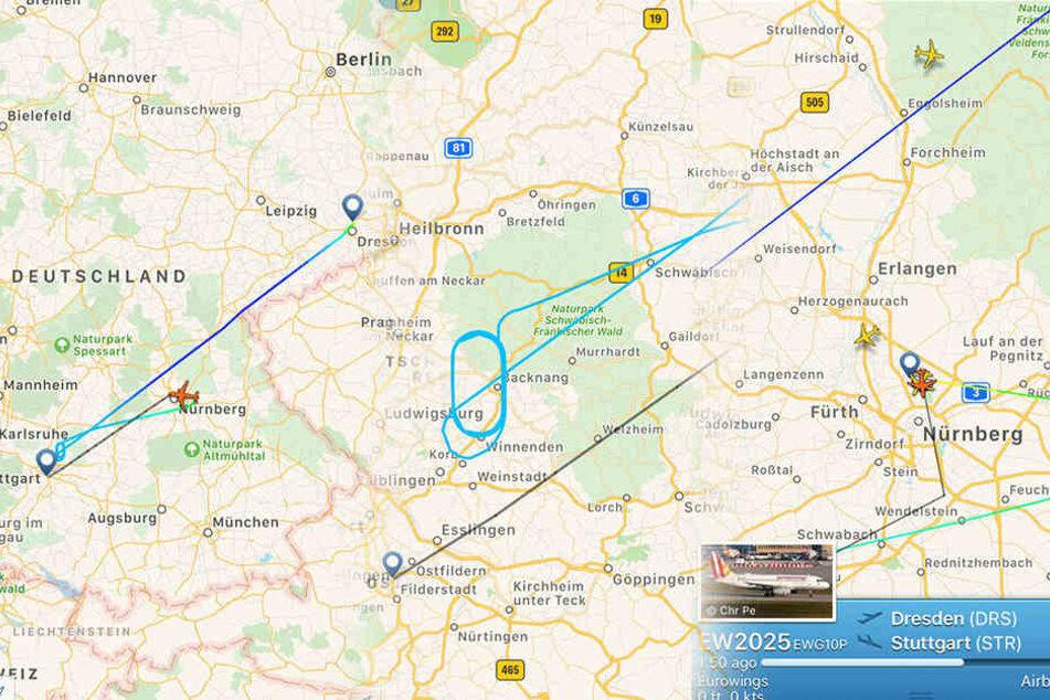 Die Maschine kreiste erst 20 Minuten über dem Nebel von Stuttgart, ehe sie in Nürnberg landete.