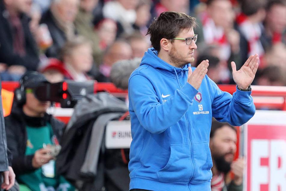 War mit der Leistung seiner Mannschaft zufrieden, mit dem Ergebnis nicht: FCE-Trainer Hannes Drews.