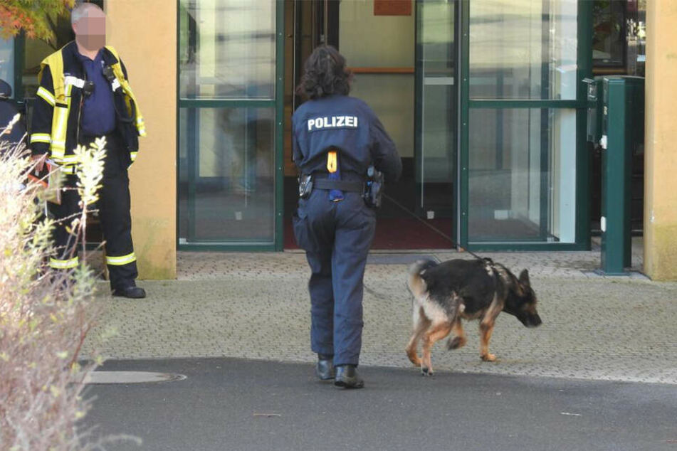 Die Beamtin und ihr Hund betreten die Einrichtung.