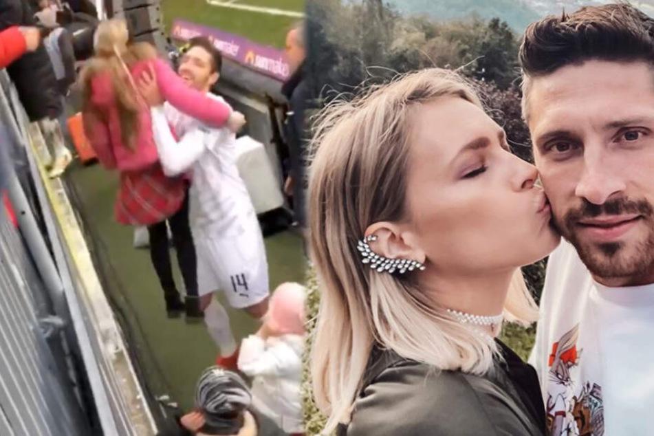 Yvonne Schroeder-Kister (31) ist seit 2012 mit dem Sandhausen-Profi Tim Kister verheiratet und feierte den 2:1-Erfolg der Kurpfälzer über den VfB Stuttgart. (Fotomontage)