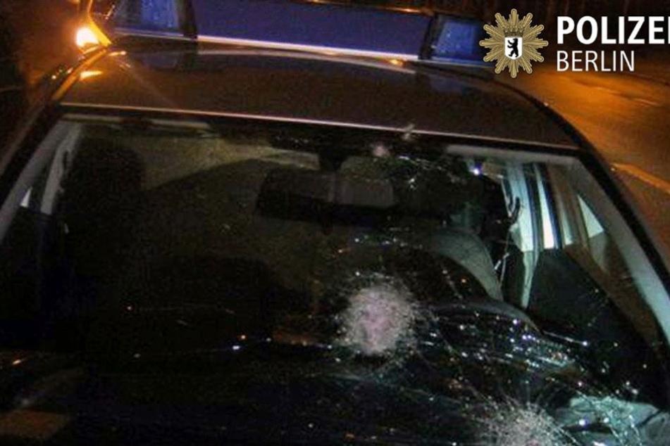 Die Polizeiautos wurden durch den Steinhagel schwer beschädigt.