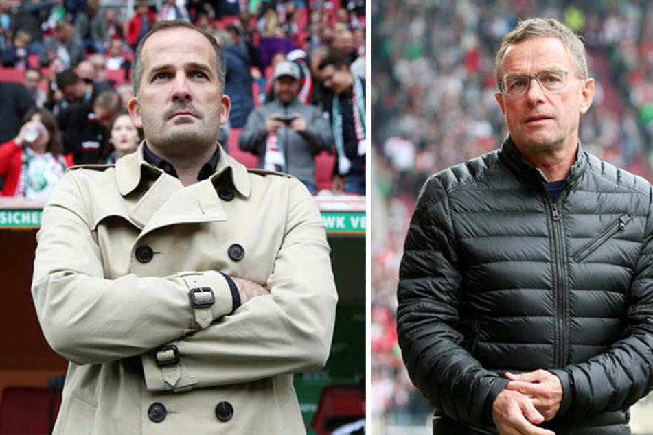Sowohl Augsburg-Trainer Manuel Baum (39, l.) als auch Leipzigs Coach Ralf Rangnick (60, r.) waren wenig angetan vom Wirrwarr um das vermeintliche Foul an Timo Werner.