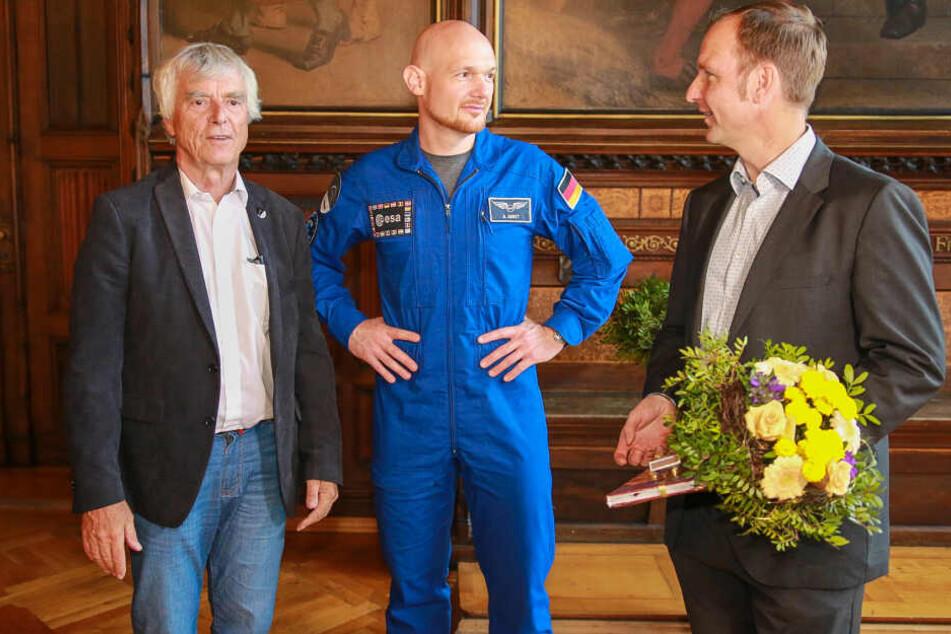 Astro-Alex (mi.) mit Ulf Merbold (li.) und Steffen Linnert.