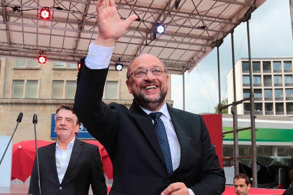 29. August: Kanzlerkandidat Martin Schulz redet im Rahmen der Schulz-Live-Tour in Leipzig.
