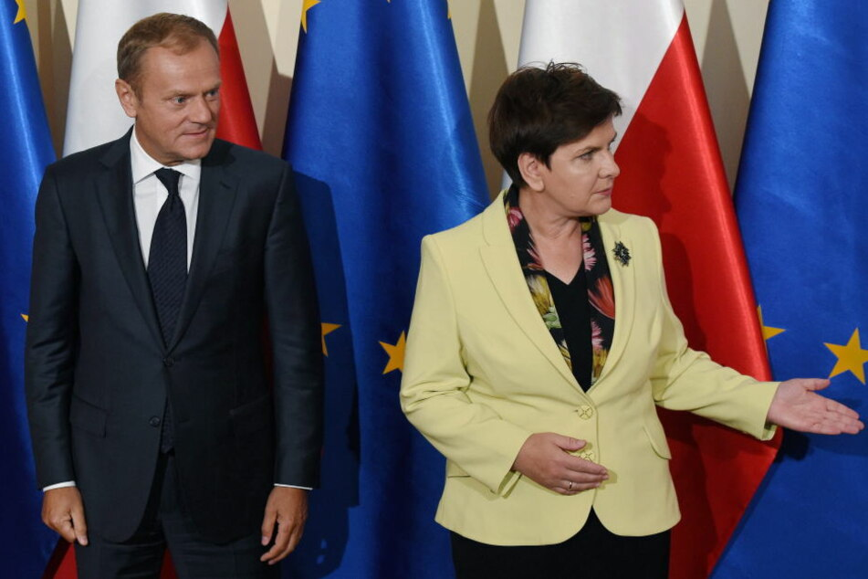 EU-Ratspräsident Donald Tusk und die polnische Ministerpräsidentin Beata Szydlo.