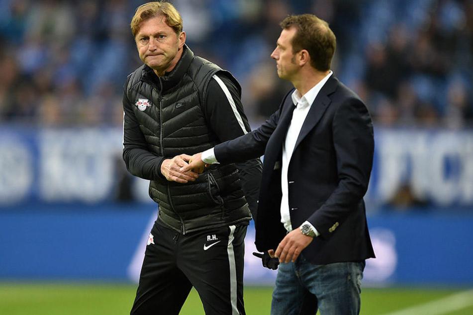 RB-Trainer Ralph Hasenhüttl (l.) und dessen Schalker Kollege Markus Weinzierl (r.) mussten sich am Sonntag mit einer Punktetrennung zufrieden geben.