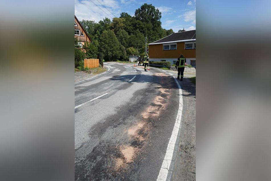 Der Straßenabschnitt wurde provisorisch mit Ölbinder gesichert, eine Fachfirma wird die Kurve gründlich reinigen.