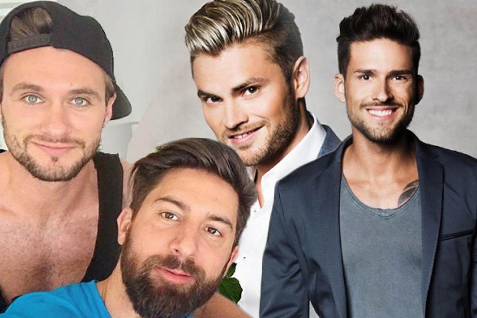 Was lief da zwischen den Ex-Bachelorette-Boys Michael Bauer (27, v.l.) Sebastian Fobe (32), Johannes Haller (30), Marco Cerullo (29) und den aktuellen Bachelor-Girls?