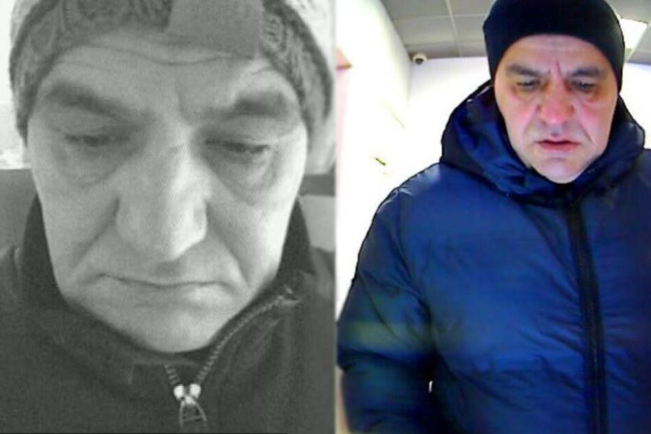 Die Polizei sucht mit diesen beiden Fotos nach dem Betrüger.