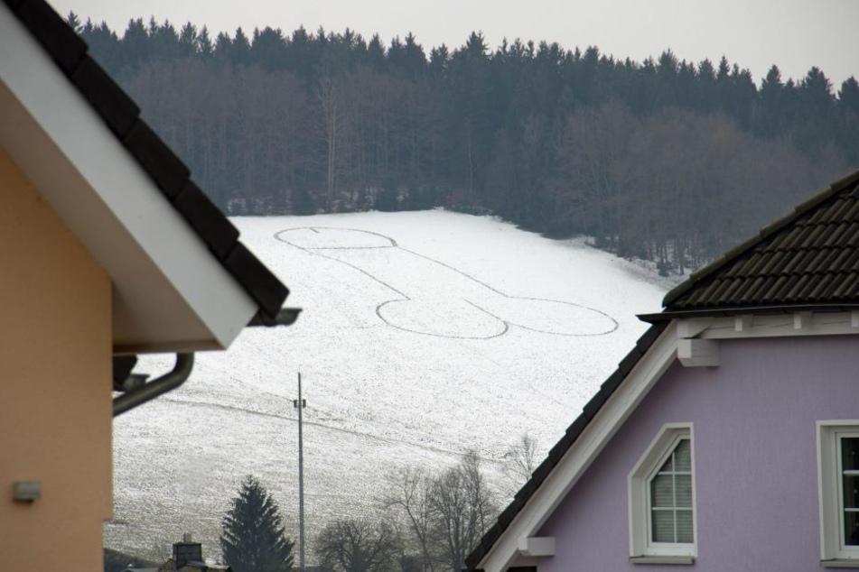 Der Künstler hat ein etwa 50 Meter großes Kunstwerk im Schnee verewigt.