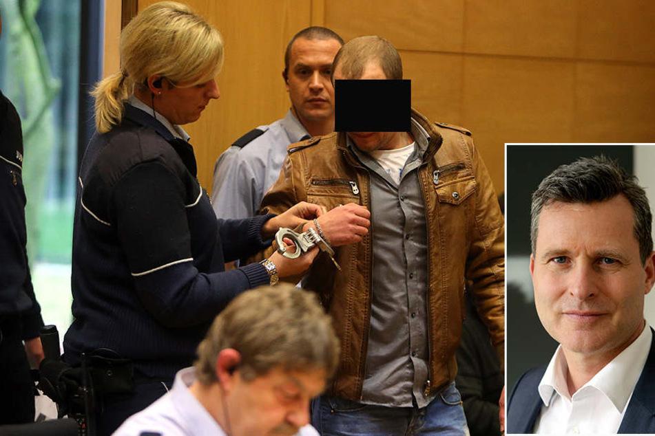 Detlev Binder (kl. Bild) übernimmt die Verteidigung des Angeklagten Mikahil Z..
