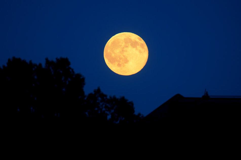 Orange-rötlich war am 20.06.2016 der Mond zu sehen. Die kam dazu, weil der Juni-Vollmond genau auf die Sommersonnenwende traf.