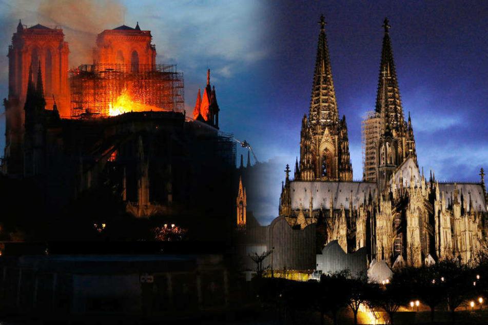 Notre Dame brennt (li.): Kann so etwas auch mit dem Kölner Dom (re.) passieren?