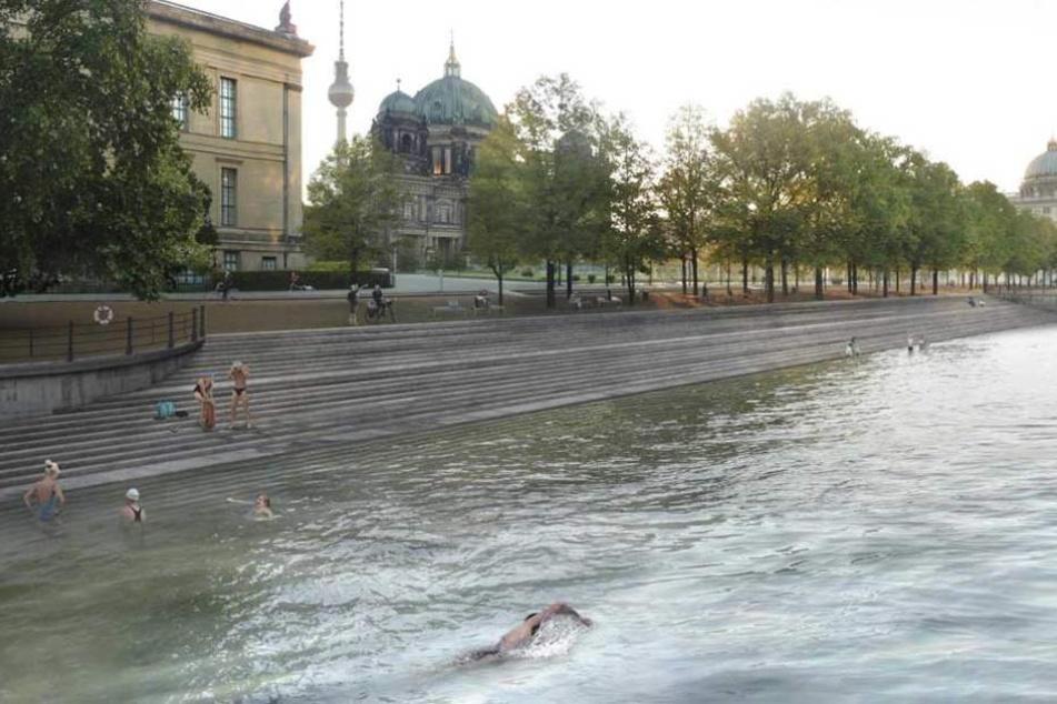 Die Animation zeigt, wie das Flussbad künftig aussehen könnte.
