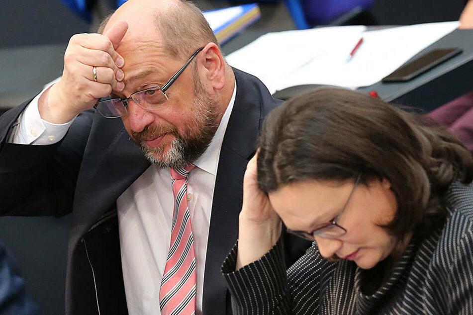 Die Unstimmigkeiten in der SPD zur Großen Koalition sorgen bei Martin Schulz und Andrea Nahes für Kopfzerbrechen.