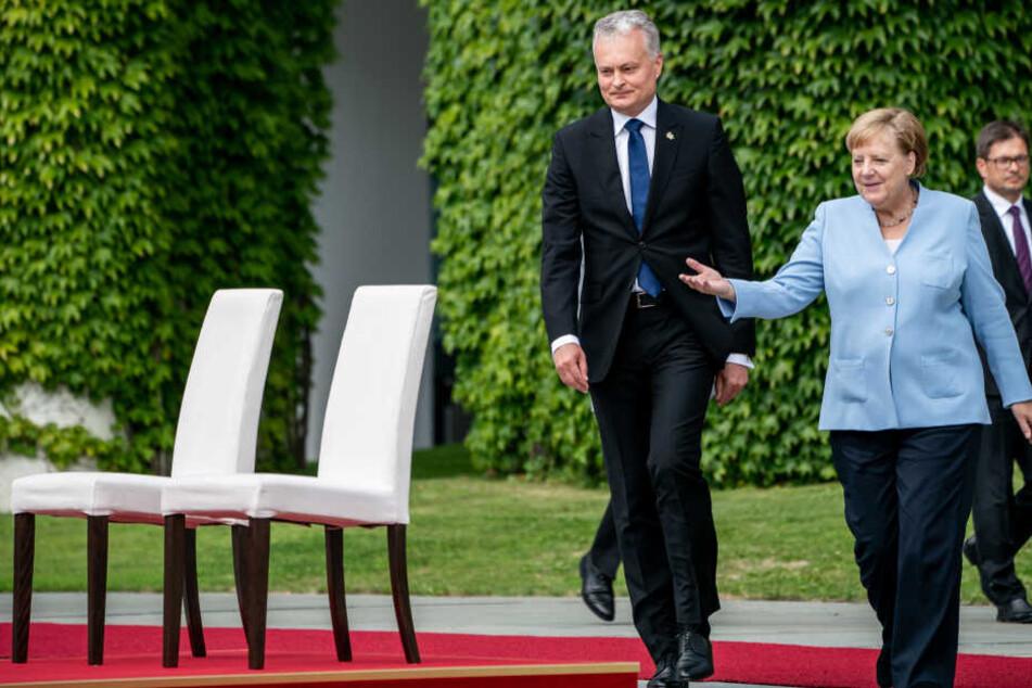 Merkel empfängt Litauens Präsident Nauseda.