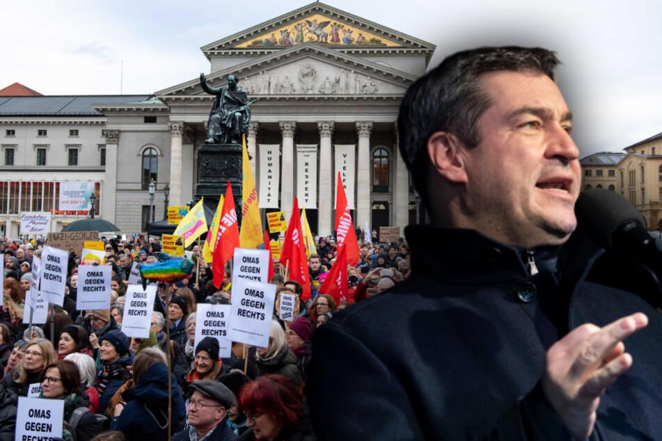 """Söder warnt vor """"braunem Gift"""": 5000 demonstrieren in München gegen Rechts"""