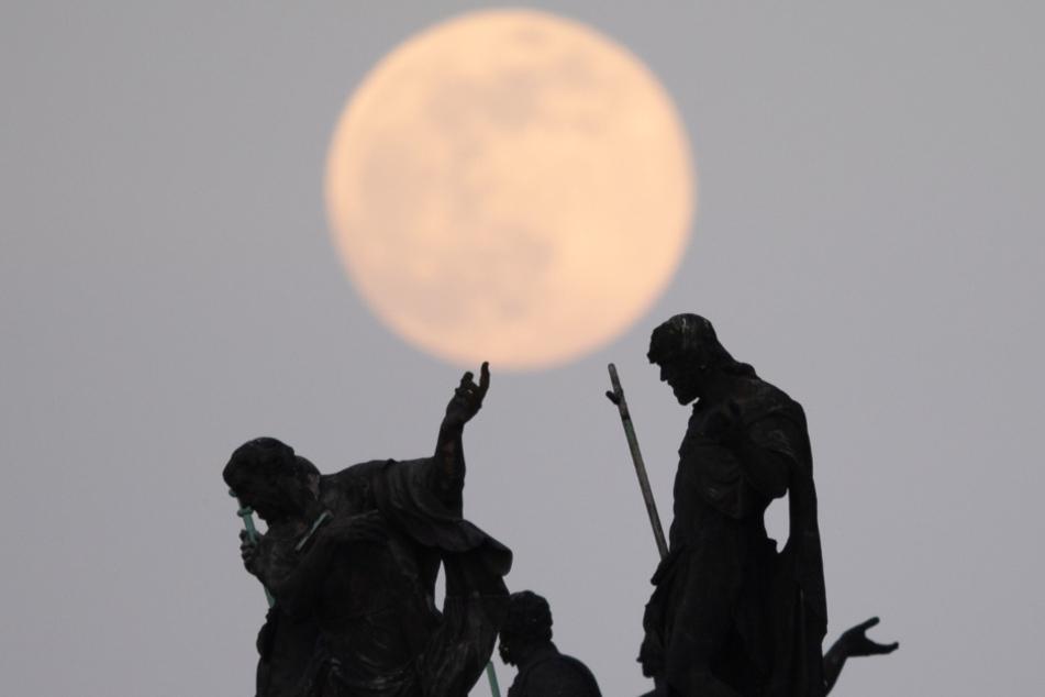Der Mond geht als sogenannter Supermond auf, im Vordergrund sind die Mattielli-Statuen auf der Katholischen Hofkirche in Dresden zu sehen.