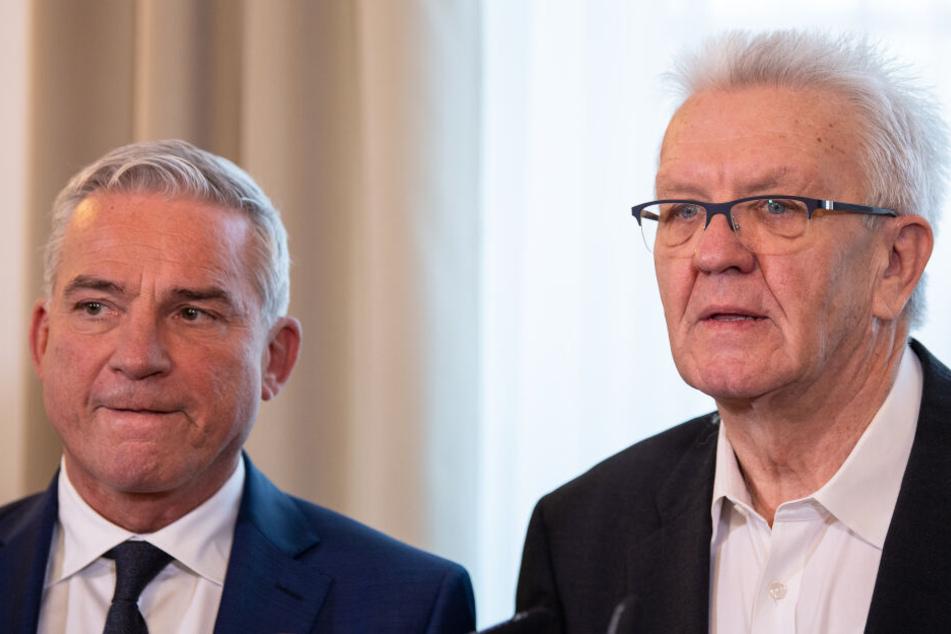 Strobl (links im Bild) und Kretschmann beim Krisengespräch vergangenen Dienstag.