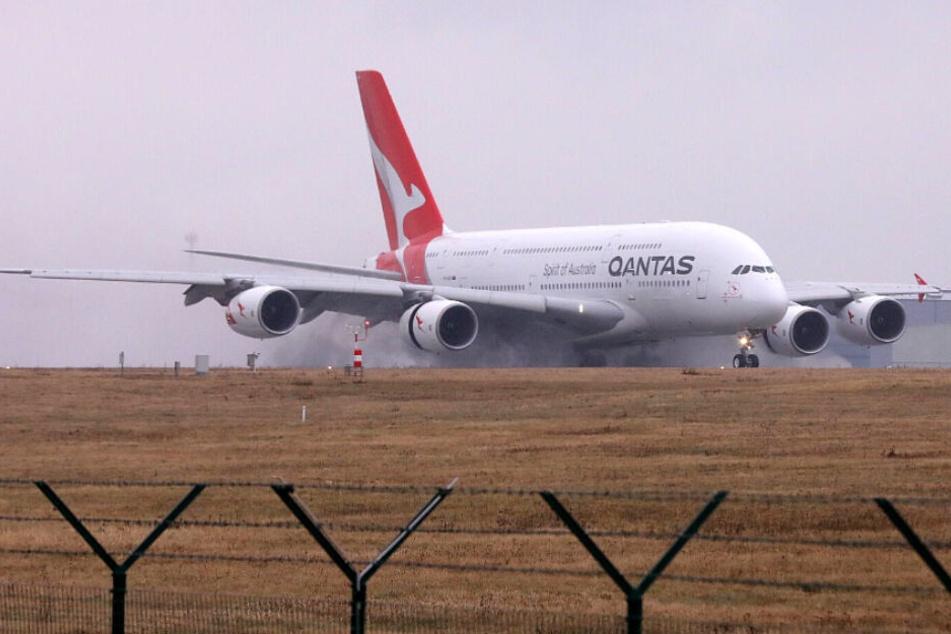 Dieser A380 landete am Freitagvormittag in Dresden.
