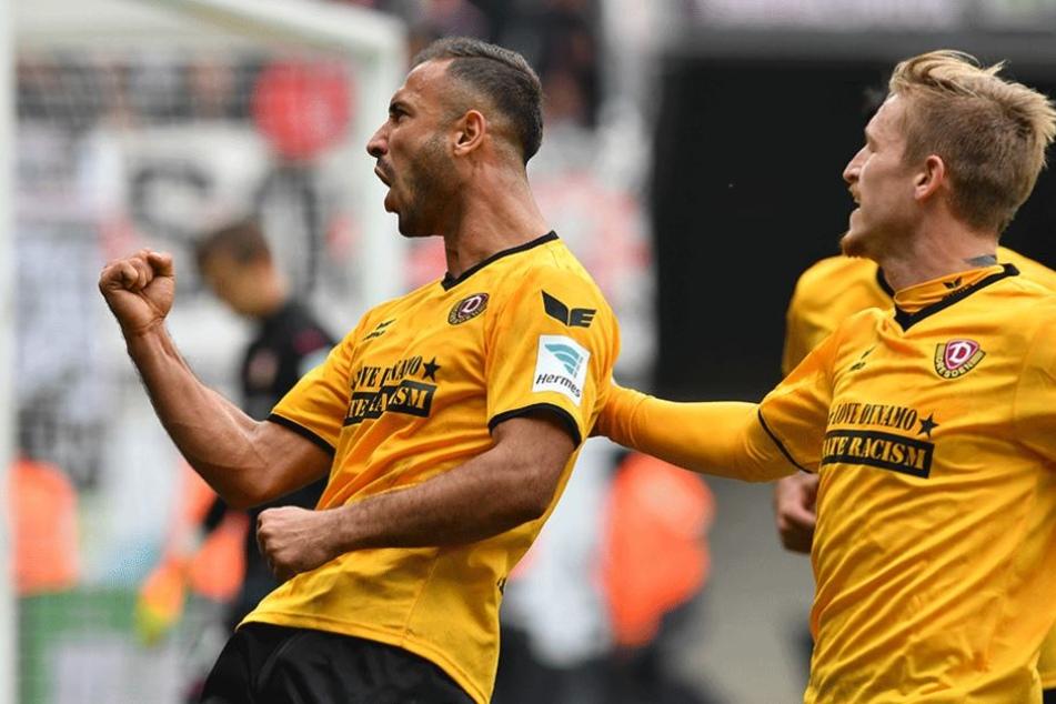 Die Gogia-Faust. Akaki Gogia war mit zwei Treffern und einer Torvorbereitung der Mann des Spiels beim 5:0 gegen den VfB Stuttgart.