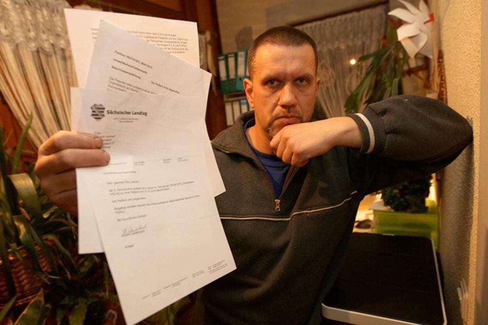 300 Anwohner unterzeichneten eine Petition an den Landtag. Tilo Keil (44) ist von der Antwort enttäuscht.