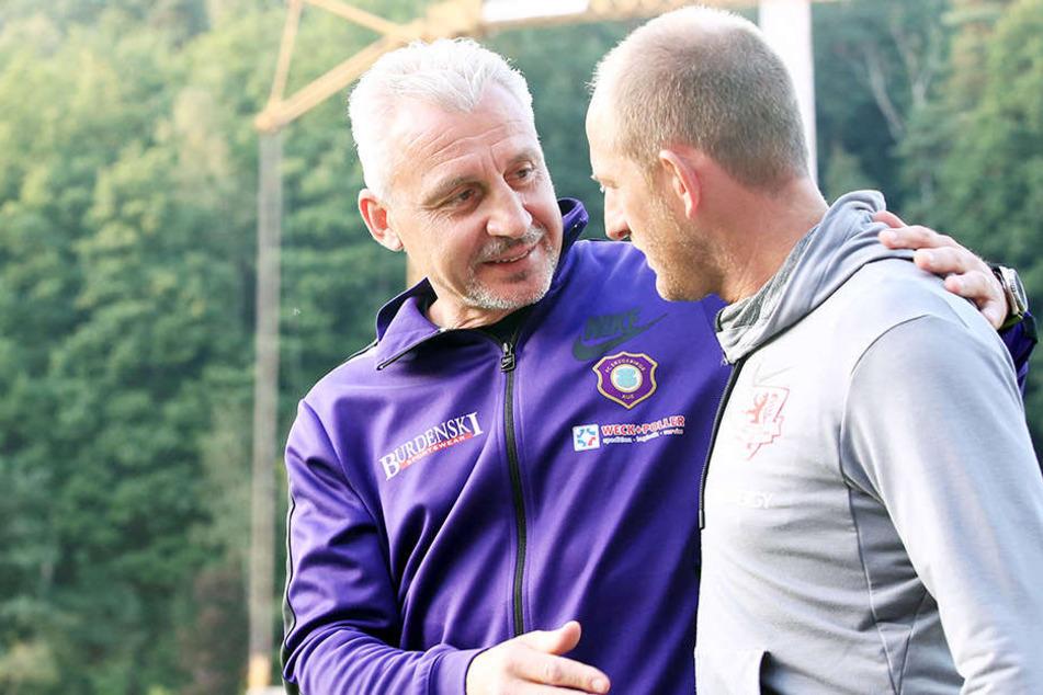 Befreundete Kollegen: Torsten Lieberknecht (r.) und Pavel Dotchev.
