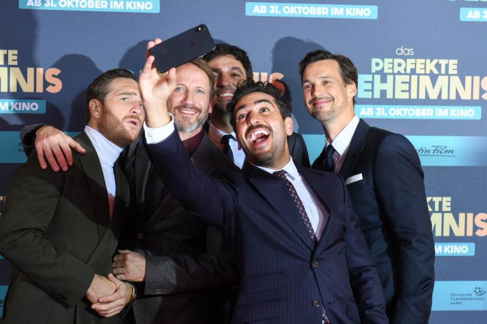 Die Schauspieler Frederick Lau (l-r), Wotan Wilke Möhring, Bora Dagtekin, Regisseur, Elyas M'Barek, Schauspieler und Florian David Fitz, Schauspieler, in München.
