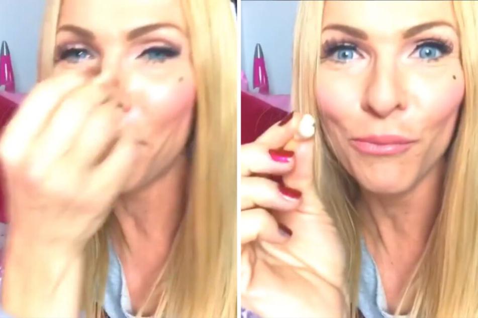 Eklig! Warum drückt sich Sonya Kraus einen alten Kaugummi ins Gesicht?