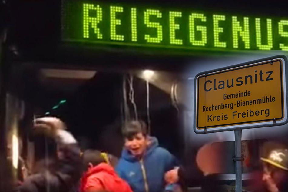 Demonstranten blockierten am 18.02.2016 die Zufahrt zur Flüchtlingsunterkunft. Dafür müssen sie sich jetzt vor Gericht verantworten.