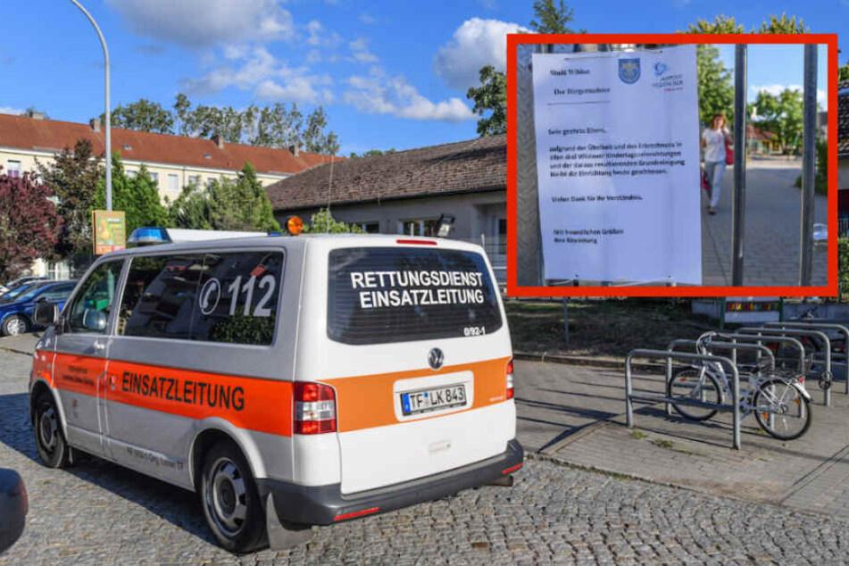 """Auch die Kita """"Wirbelwind"""" in Wildau war betroffen. Klein: Der Hinweis der Stadt an die besorgten Eltern."""