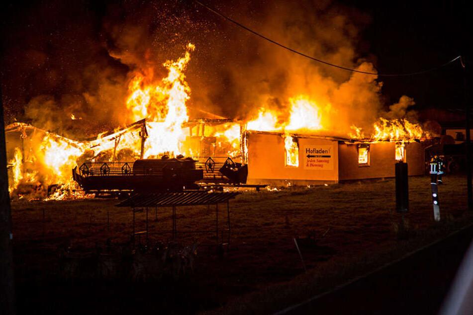 Zu einem schweren Brand kam es am Freitagmorgen gegen 4.35 Uhr nahe Arnsdorf.
