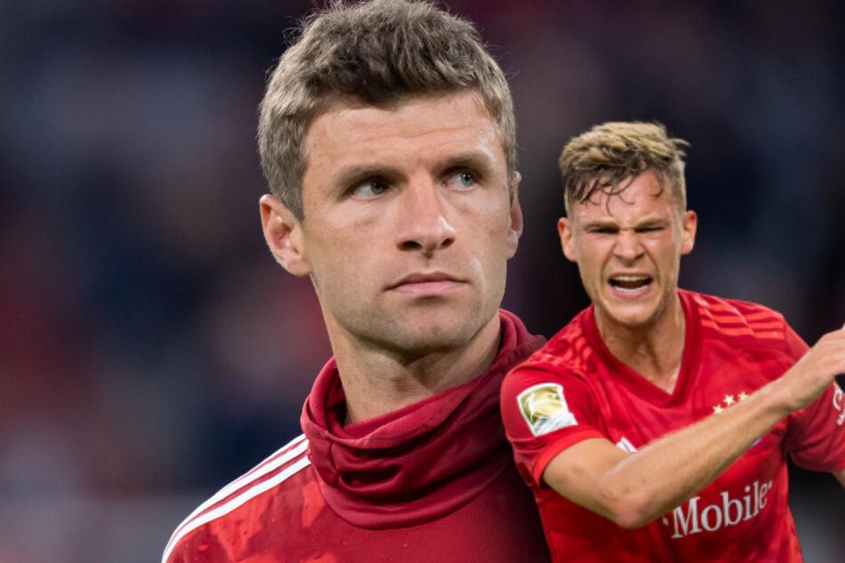 Thomas Müller (l.) sitzt beim FC Bayern meist auf der Bank, da kann Kollege Joshua Kimmich seinen Frust verstehen. (Bildmontage)