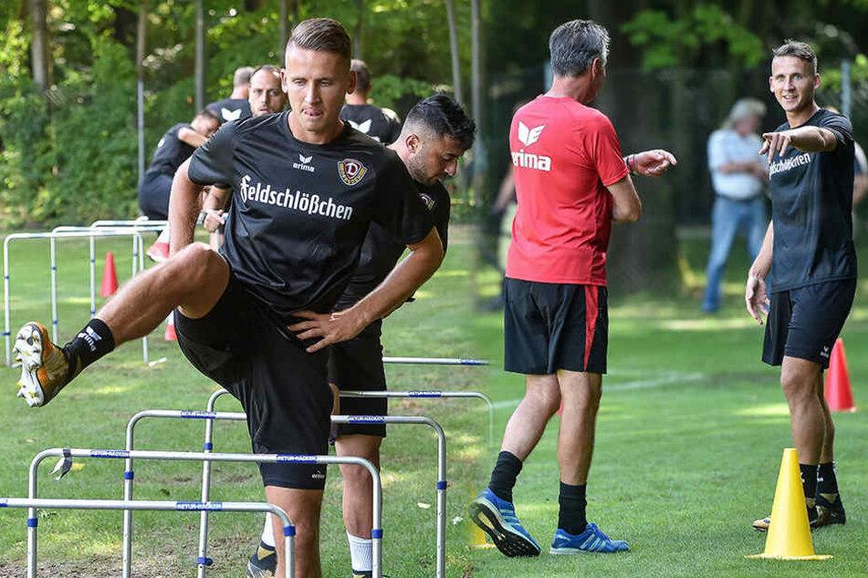 Seguin voll konzentriert beim Training (li.) und beim Scherzen mit Trainer Uwe Neuhaus (re.).