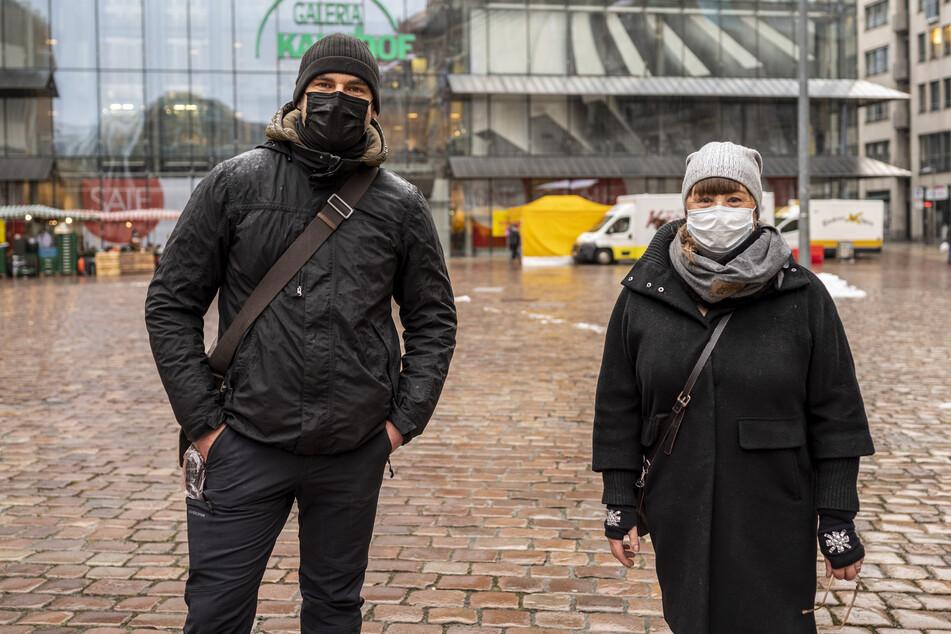 """Dirk Bethmann (43, """"Bethmann & Jans"""") und Heike Resch-Saupe (""""Haarmonie"""") organisierten die Demo."""