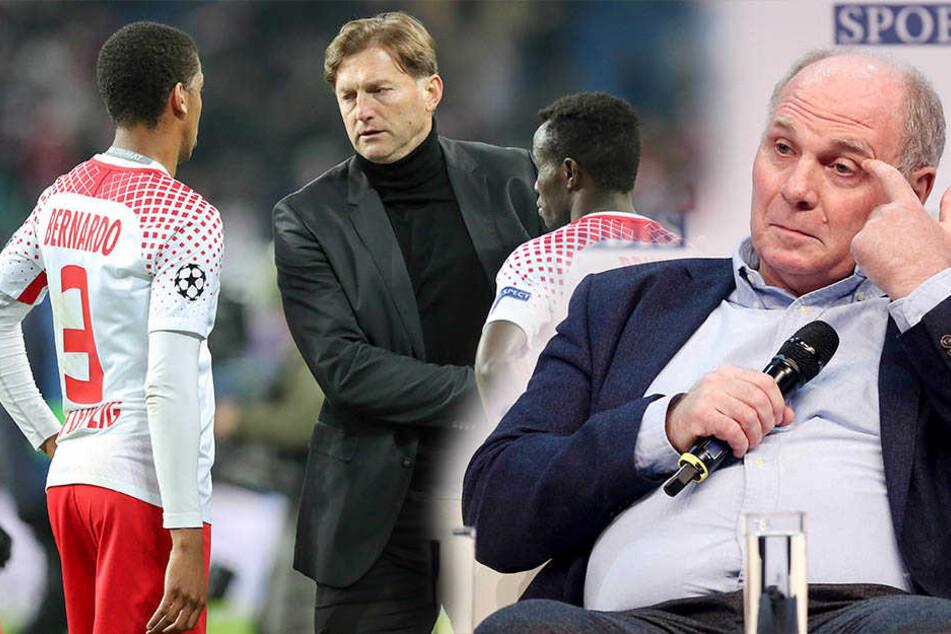 Bayern-Boss Uli Hoeneß (66, r.) ist sich sicher, dass RB Leipzig keine Konkurrenz darstellt, wenn sie weiter auf die Jugend setzen. Er fordert zudem, dass Red-Bull-Mäzen Dietrich Mateschitz (73) mehr Geld in Leipzig als in der Formel 1 investieren sollte.