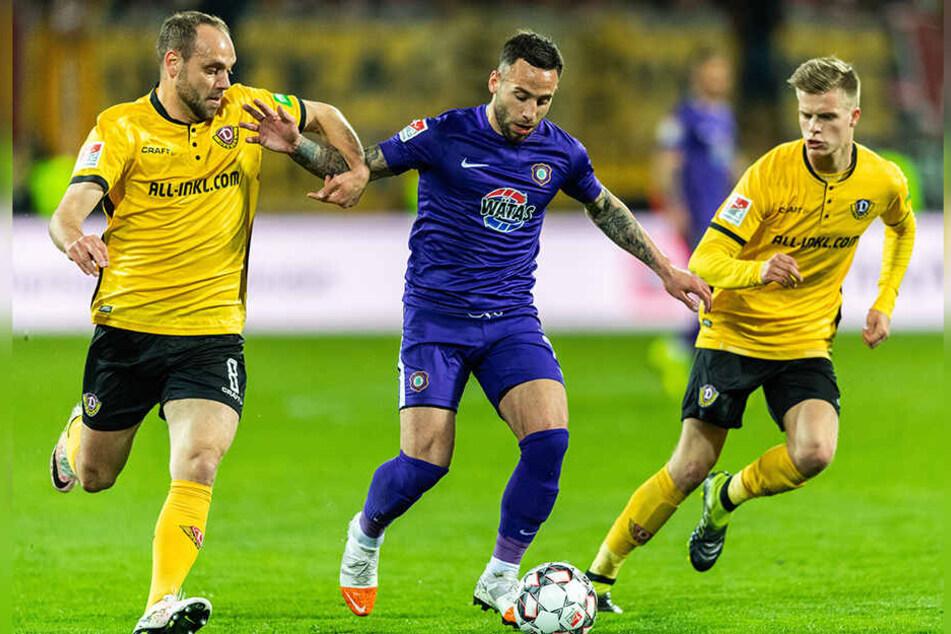 Am Montagabend war Calogero Rizzuto (M.) gegen Dynamo noch auf den Beinen - jetzt liegt er mit einer Angina flach.