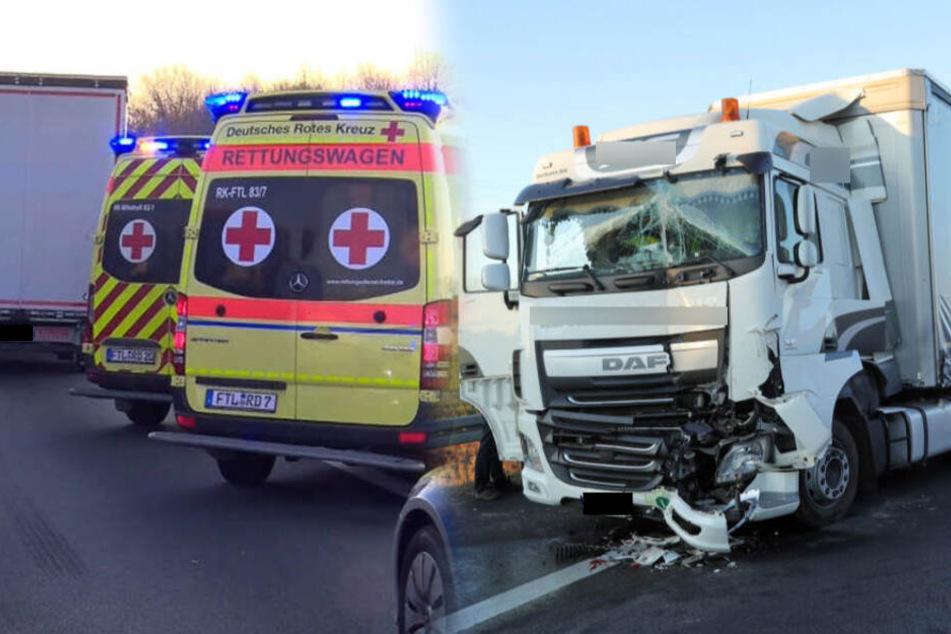 Unfall auf A4 bei Dresden: Laster stoßen zusammen, zwei Verletzte