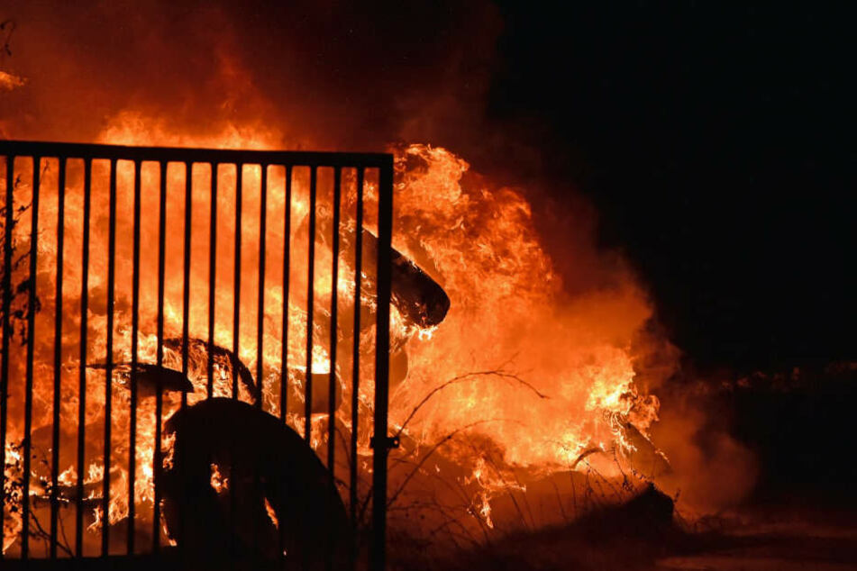 Erneut muss die Feuerwehr gegen die Flammen in dem Reifenlager kämpfen.