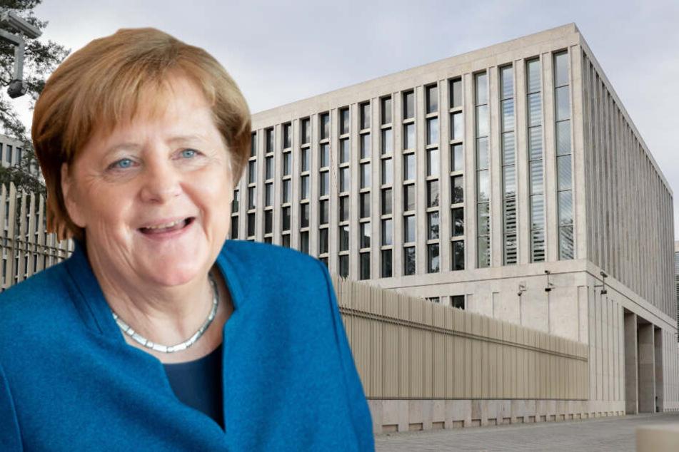 Angela Merkel wird den BND offiziell eröffnen. (Bildmontage)