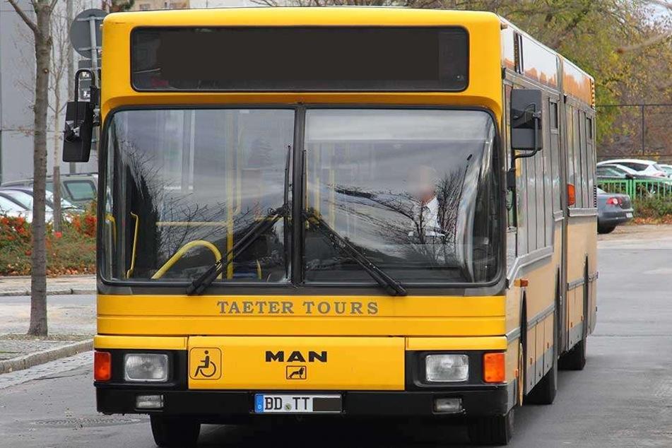 Ein Bus von Taeter Tours, der in den gelben Farben der Dresdner Verkehrsbetriebe (DVB) unterwegs ist.