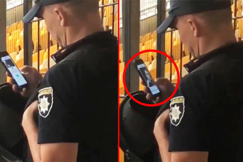 Unglaublich, was dieser Polizist während eines Fußballspiels macht