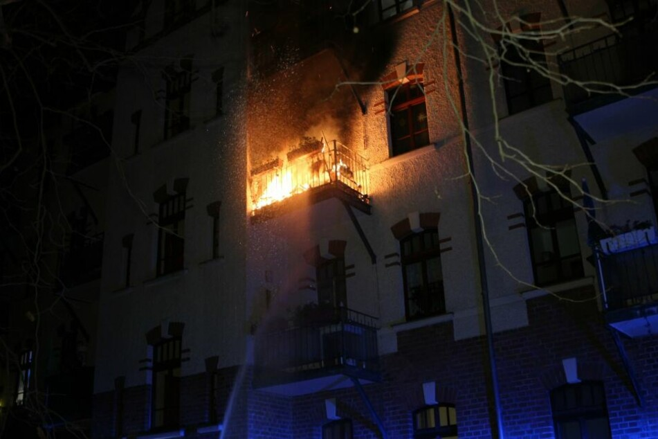 Dieser Balkon brannte in Reudnitz.