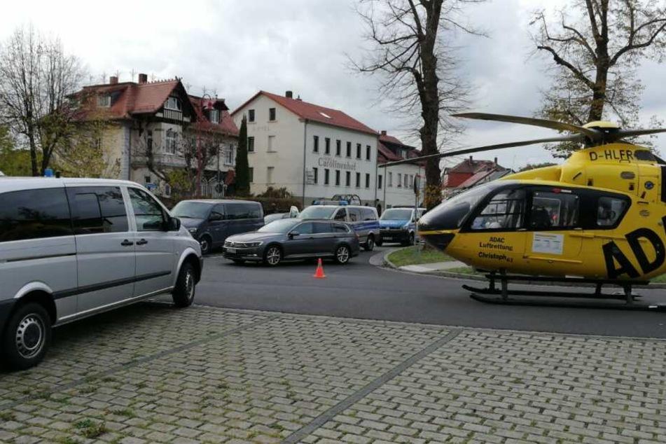 Auch ein Rettungshubschrauber landete am Einsatzort.