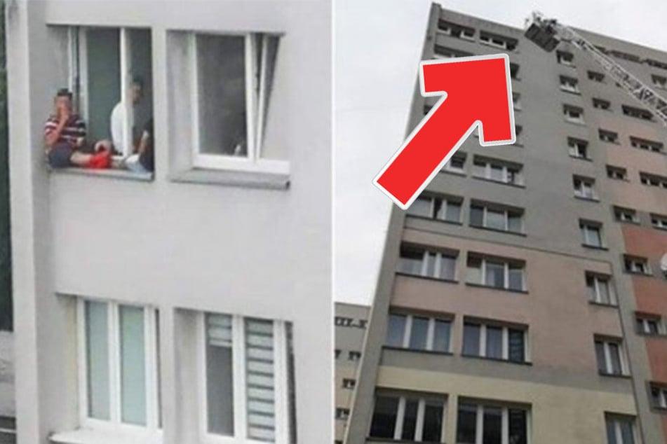 Rettungskräfte im Einsatz: Teenager sitzt in 9. Etage auf Fensterbrett!