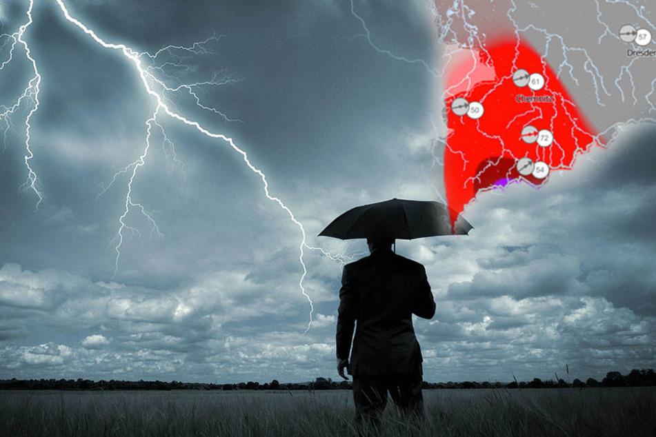 Alarmstufe Rot! Auf Sachsen rollen Unwetter mit Gewitter und Orkanböen zu