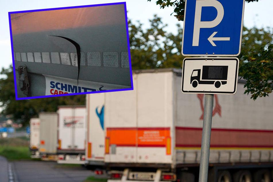 """An der A14-Raststätte """"Muldental-Süd"""" schlitzten Täter neun Lkw-Planen auf. Die Polizei konnte den flüchtigen Kleintransporter an der Abfahrt Mutzschen stellen (Symbolbild)."""