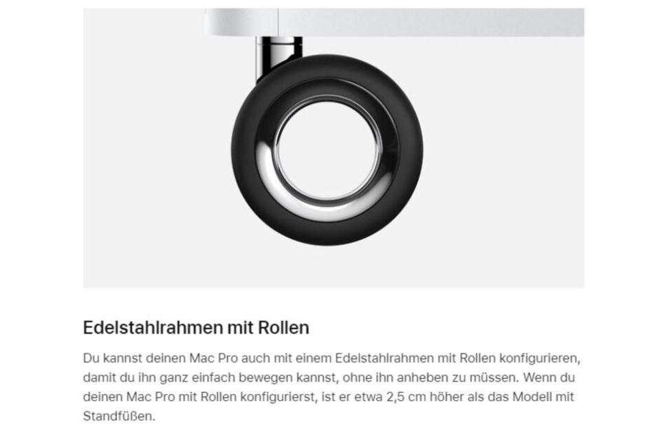 Vier schmale Rollen für den Mac Pro kosten 480 Euro.
