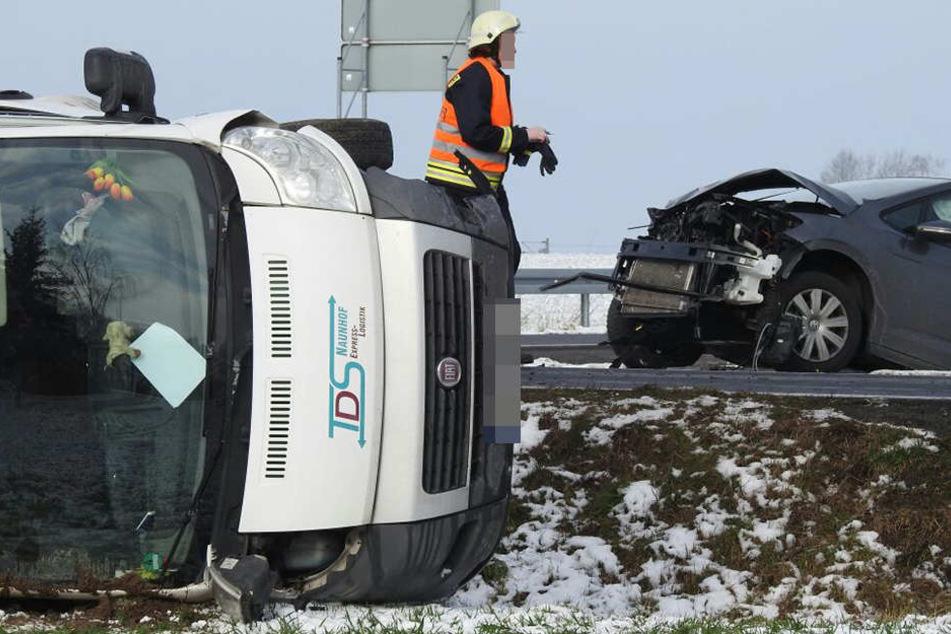 Am Montag gab es auf der B6 zwischen Wurzen und Kühren einen Crash mit zwei Verletzten.
